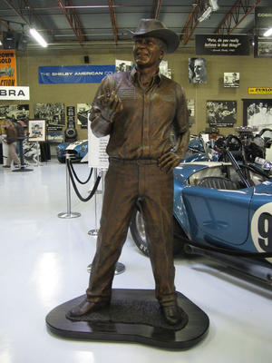 Carroll Shelby Bronze Portrait Sculpture - yes